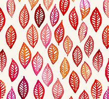 Watercolor Leaf Pattern in Autumn Colors by micklyn