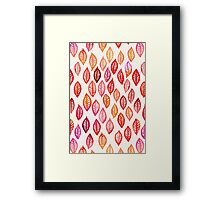 Watercolor Leaf Pattern in Autumn Colors Framed Print