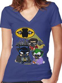 Bat Pug Women's Fitted V-Neck T-Shirt