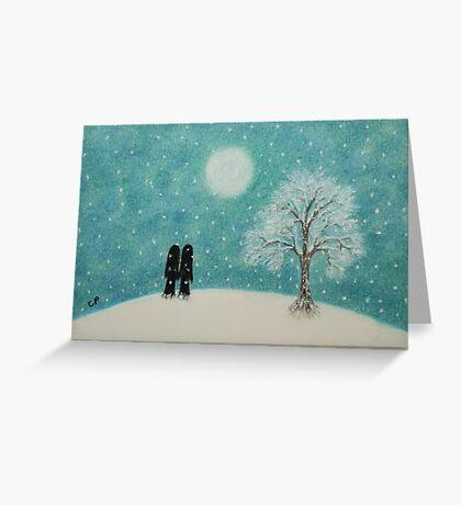Romantic Couple in Snow: Christmas Romance  Greeting Card
