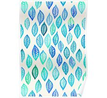 Watercolor Leaf Pattern in Blue & Turquoise Poster