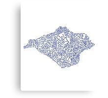 Navy Blue Isle of Wight map Canvas Print