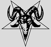 Satanic Goat Head with Pentagram 2 (black) by MysticIsland