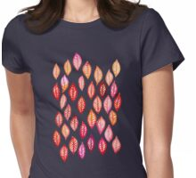 Watercolor Leaf Pattern in Autumn Colors Womens Fitted T-Shirt