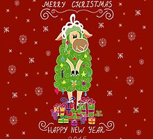 Christmas card with Christmas tree in the form of sheep and gifts by Ann-Julia