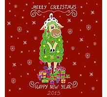 Christmas card with Christmas tree in the form of sheep and gifts Photographic Print