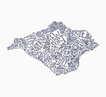 Navy Blue Isle of Wight map T-Shirt