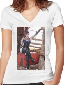 Little Miss Ink'd  Women's Fitted V-Neck T-Shirt
