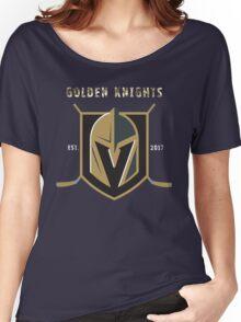 A Golden Vegas Sports Shirt Knight Emblem Epic T-Shirt Women's Relaxed Fit T-Shirt