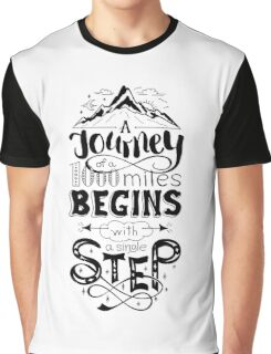 typographical, lettring quote journey, black and white Graphic T-Shirt