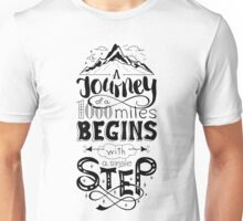 typographical, lettring quote journey, black and white Unisex T-Shirt