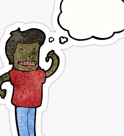 cartoon confident man with thought bubble Sticker