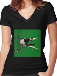 Scissor Crow Women's Fitted V-Neck T-Shirt