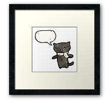 cartoon black cat Framed Print