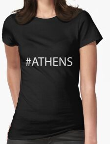 #Athens White Womens Fitted T-Shirt