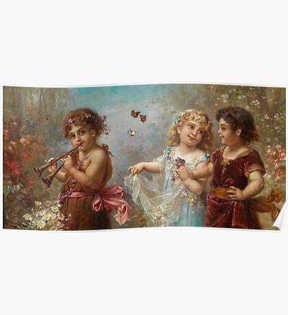 Angels playing Hans Zatzka Painting Victorian Vintage Rustic Retro Decor Poster