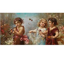 Angels playing Hans Zatzka Painting Victorian Vintage Rustic Retro Decor Photographic Print