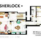 Floorplan of Sherlock Holmes apartment from BBCs by Iñaki Aliste Lizarralde