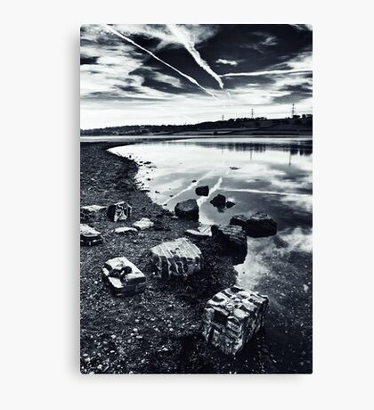 monochrome urban grunge waterscape Canvas Print