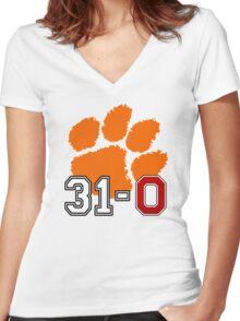 Clemson 31-0 Women's Fitted V-Neck T-Shirt