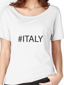 #Italy Black Women's Relaxed Fit T-Shirt