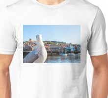 Scenic view of Whitby city and abbey with seagull  Unisex T-Shirt