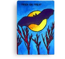 Halloween bat and moon trick or treat Canvas Print