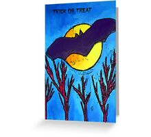 Halloween bat and moon trick or treat Greeting Card