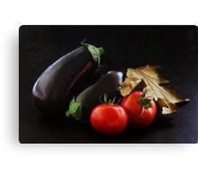 Eggplant and Tomato still life Canvas Print