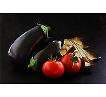Eggplant and Tomato still life Photographic Print