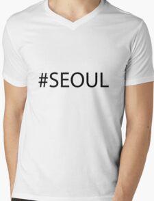 #Seoul Black Mens V-Neck T-Shirt