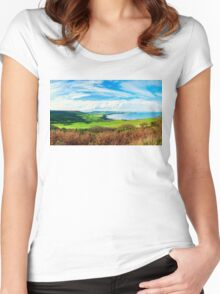 Scenic View over of Robin Hoods Bay in Ravenscar, North Yorkshire, England Women's Fitted Scoop T-Shirt