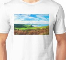 Scenic View over of Robin Hoods Bay in Ravenscar, North Yorkshire, England Unisex T-Shirt