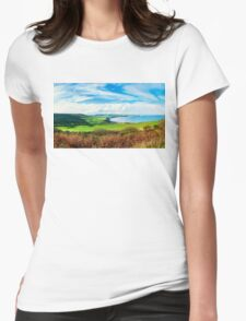 Scenic View over of Robin Hoods Bay in Ravenscar, North Yorkshire, England Womens Fitted T-Shirt