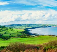 Scenic View over of Robin Hoods Bay in Ravenscar, North Yorkshire, England Sticker