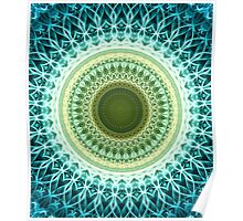 Mandala in light yellow and green Poster