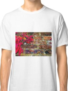 Autumn leaves against red brick wall, natural frame background Classic T-Shirt