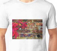 Autumn leaves against red brick wall, natural frame background Unisex T-Shirt