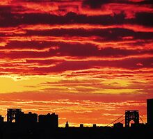 Sunset over New York City  by Alberto  DeJesus