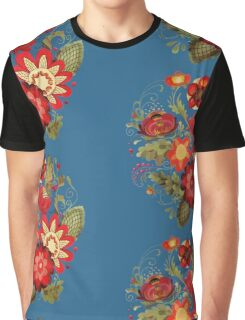 Flower composition on the blue background Graphic T-Shirt