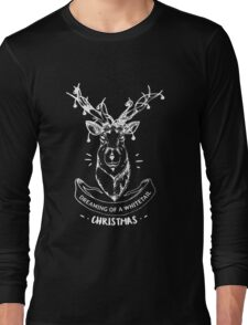 Dreaming of a whitetail Christmas - Funny Hunting Deer  Long Sleeve T-Shirt