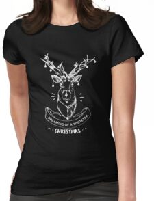 Dreaming of a whitetail Christmas - Funny Hunting Deer  Womens Fitted T-Shirt