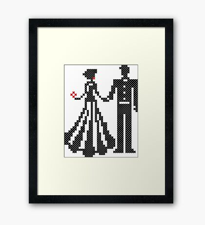 SILHOUETTES OF ELEGANT BRIDE AND GROOM CROSS-STITCH DESIGN Framed Print