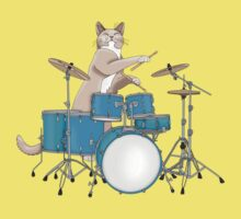 Cat Playing Drums - Pink Kids Tee