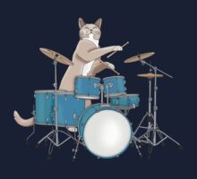 Cat Playing Drums - Pink One Piece - Short Sleeve