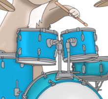 Cat Playing Drums - Pink Sticker