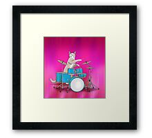 Cat Playing Drums - Pink Framed Print