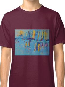 Blue Yellow Abstract Patterns Oil Artwork Painting Classic T-Shirt