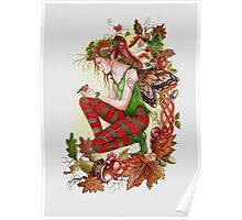 Autumn fairy with robin Poster