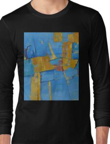Abstract Artwork Blue Yellow Doodle Patterns Long Sleeve T-Shirt